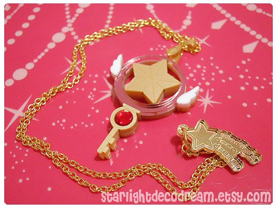 PRE ORDER Cardcaptor Sakura Clow Star Key Inspired Gold Acrylic Necklace for Mahou Kei, Magical Girl Fashion. $32.00, via Etsy.