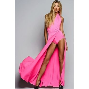 Cheap Sexy Halter V Neck Tank Sleeveless Side Split Pink Polyester Faux Two-piece Ankle Length Dress_Dresses_Womens Clothing_Cheap Clothes,Cheap Shoes Online,Wholesale Shoes,Clothing On lovelywholesale.com - LovelyWholesale.com