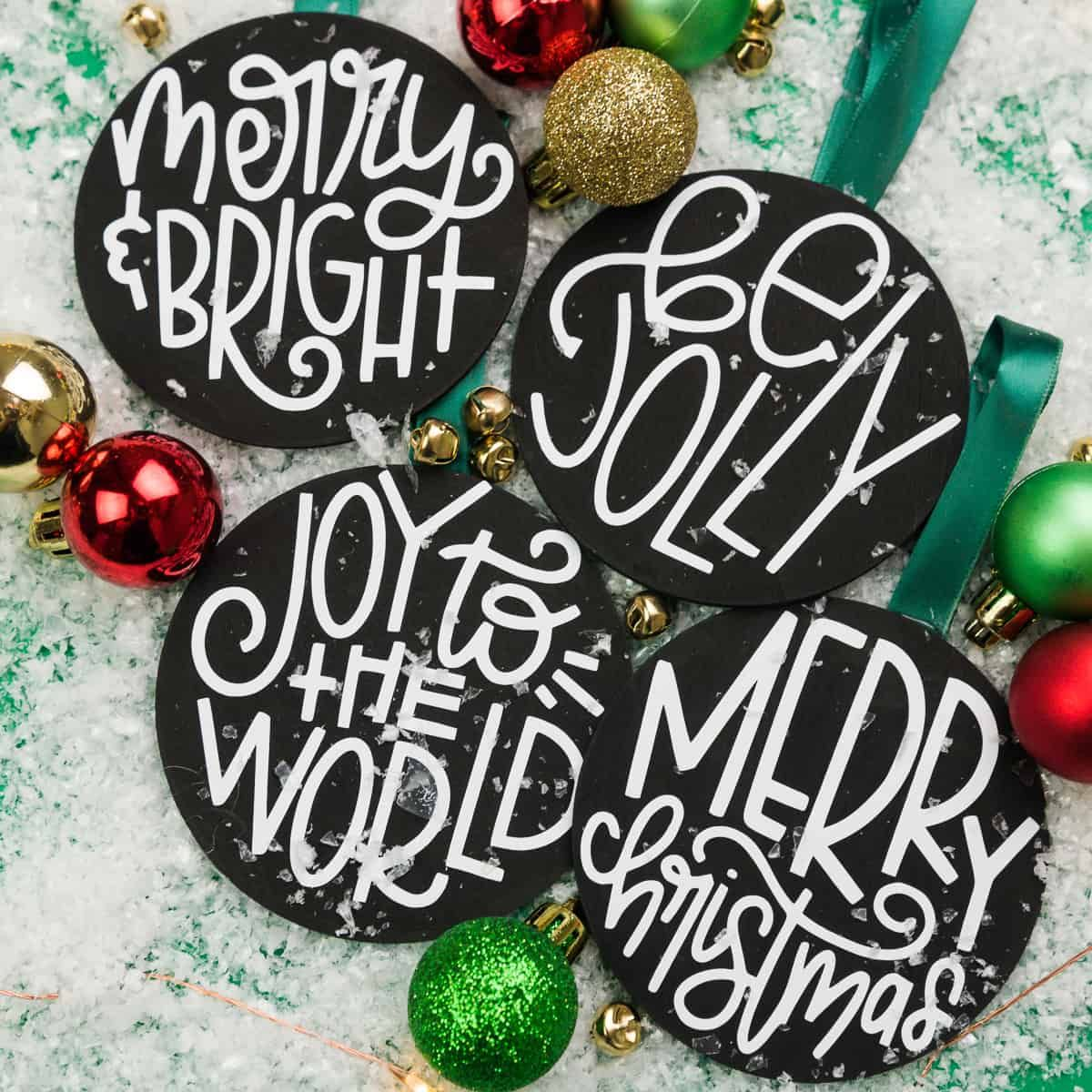 How To Put Heat Transfer Vinyl On Wood Ornaments Wood Ornaments Wooden Christmas Ornaments Wood Slice Ornament