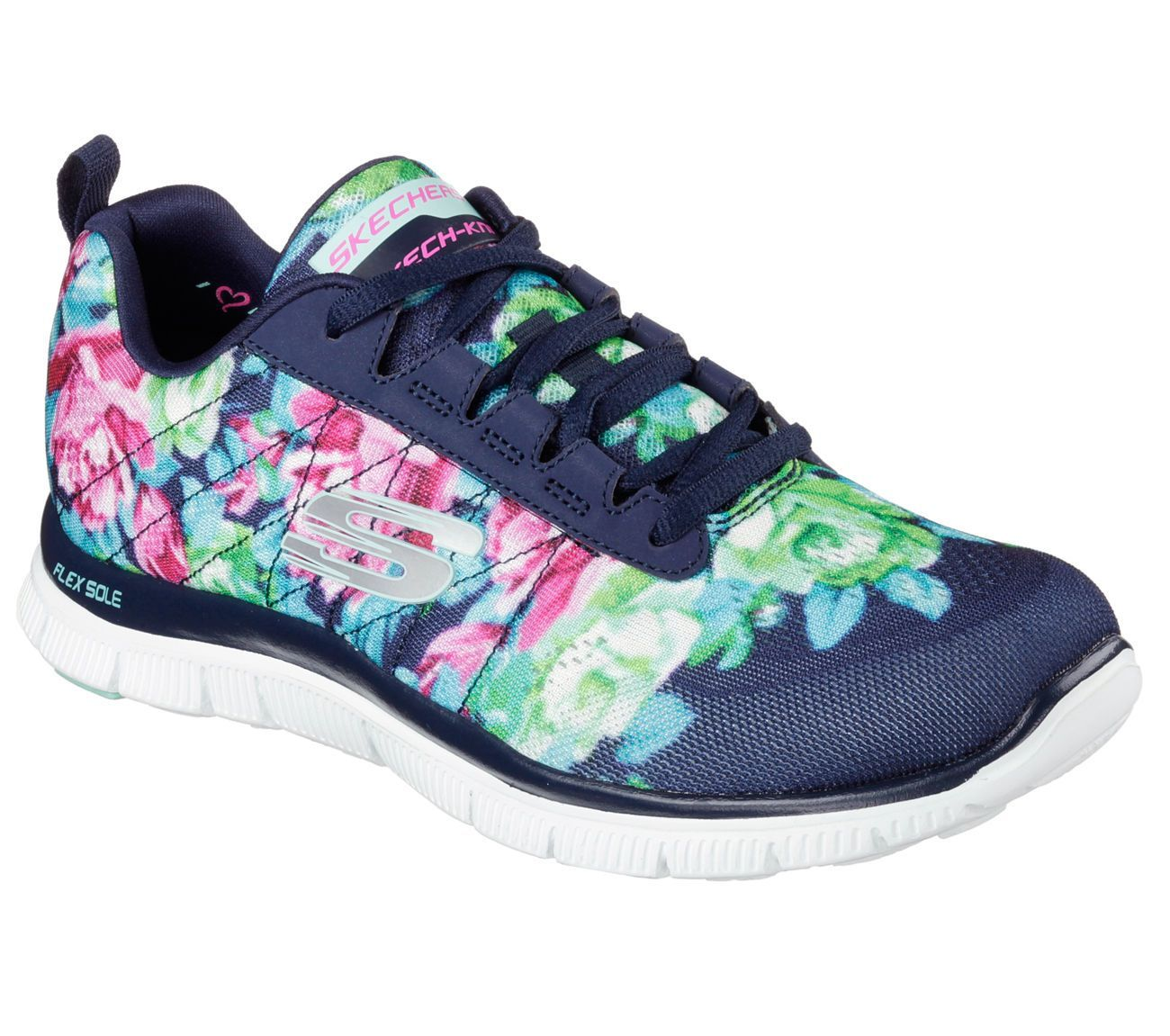 12448 Navy Flower Skechers Shoes Women Memory Foam Sport