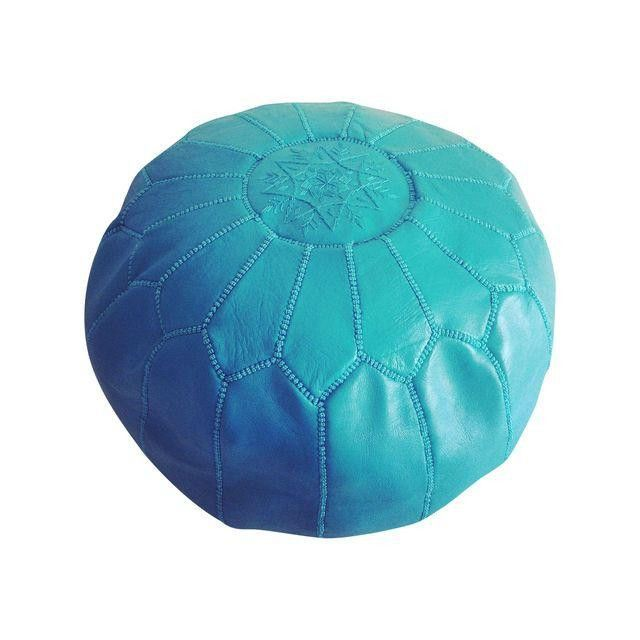 Classic Moroccan leather pouf