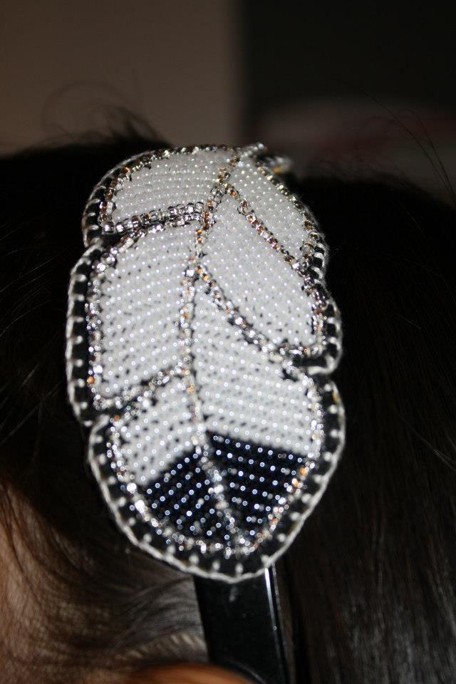 Beaded Feather headband