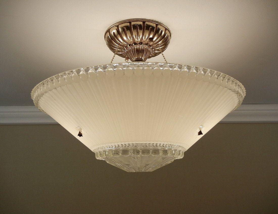 Vintage art deco pressed glass brass ceiling light fixture 155 vintage art deco pressed glass brass ceiling light fixture 155 rewired 25900 arubaitofo Gallery