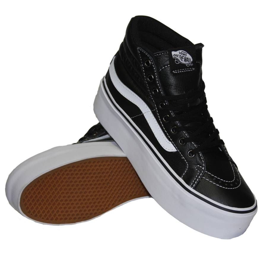 56be0d9afef0 Ladies check these Vans Womens Sk-8 Hi Platform Shoe from vans collection  this Leather Black True White shoe is a gem!!