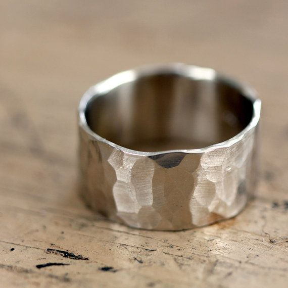 14k Gold Wedding Ring Hammered 14k White Gold Eco Friendly Etsy In 2020 14k Gold Wedding Ring Wide Band Wedding Ring Wedding Rings