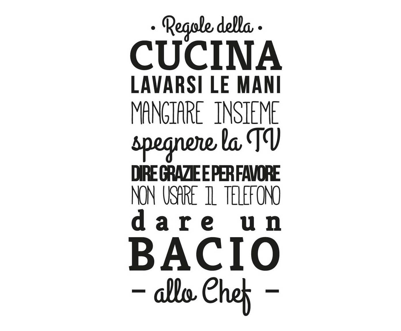 Adesivo da parete in vinile Regole della cucina - 45x95 cm | Dalani ...