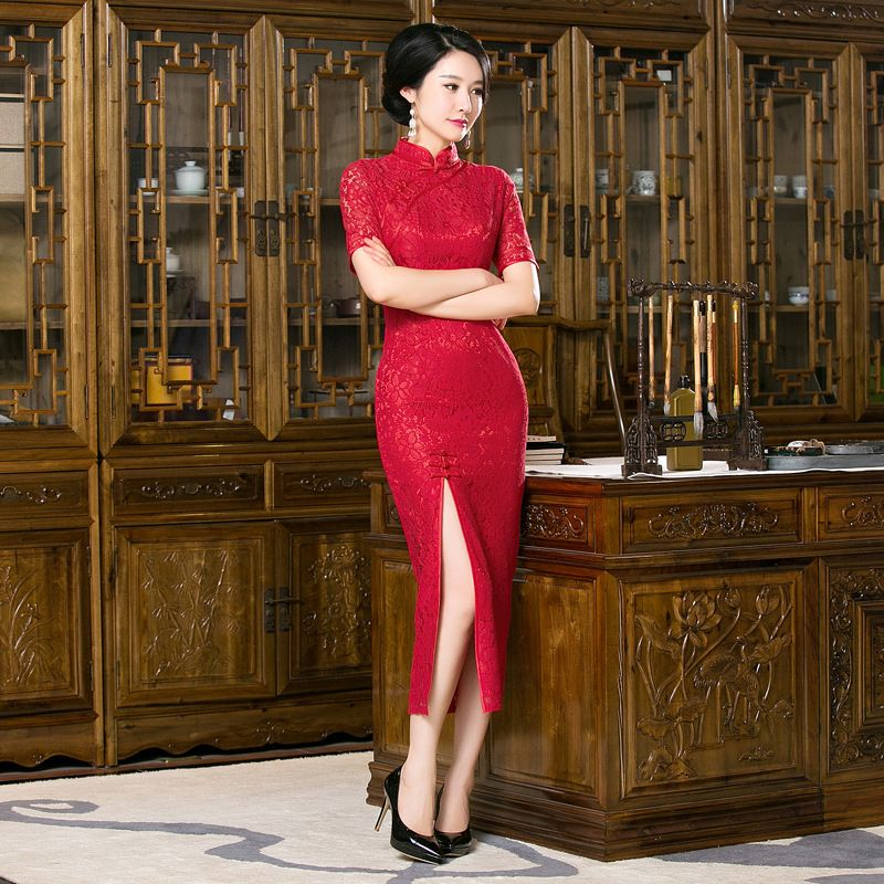 72524611330 Women sale Slim wedding cheongsam chinese red Married dress Bodycon Party  Evening Cocktail traditional lace qipao TRJ0512 Price  96.14   FREE  Shipping  nice