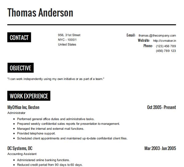 10 Online Tools To Create Impressive Resumes Hongkiat Perfect Resume Example How To Make Resume Good Resume Examples
