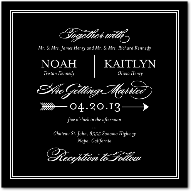 Ever Arrow Black 3 29 White Wedding Invitations Classy Invitations Wedding Invitations