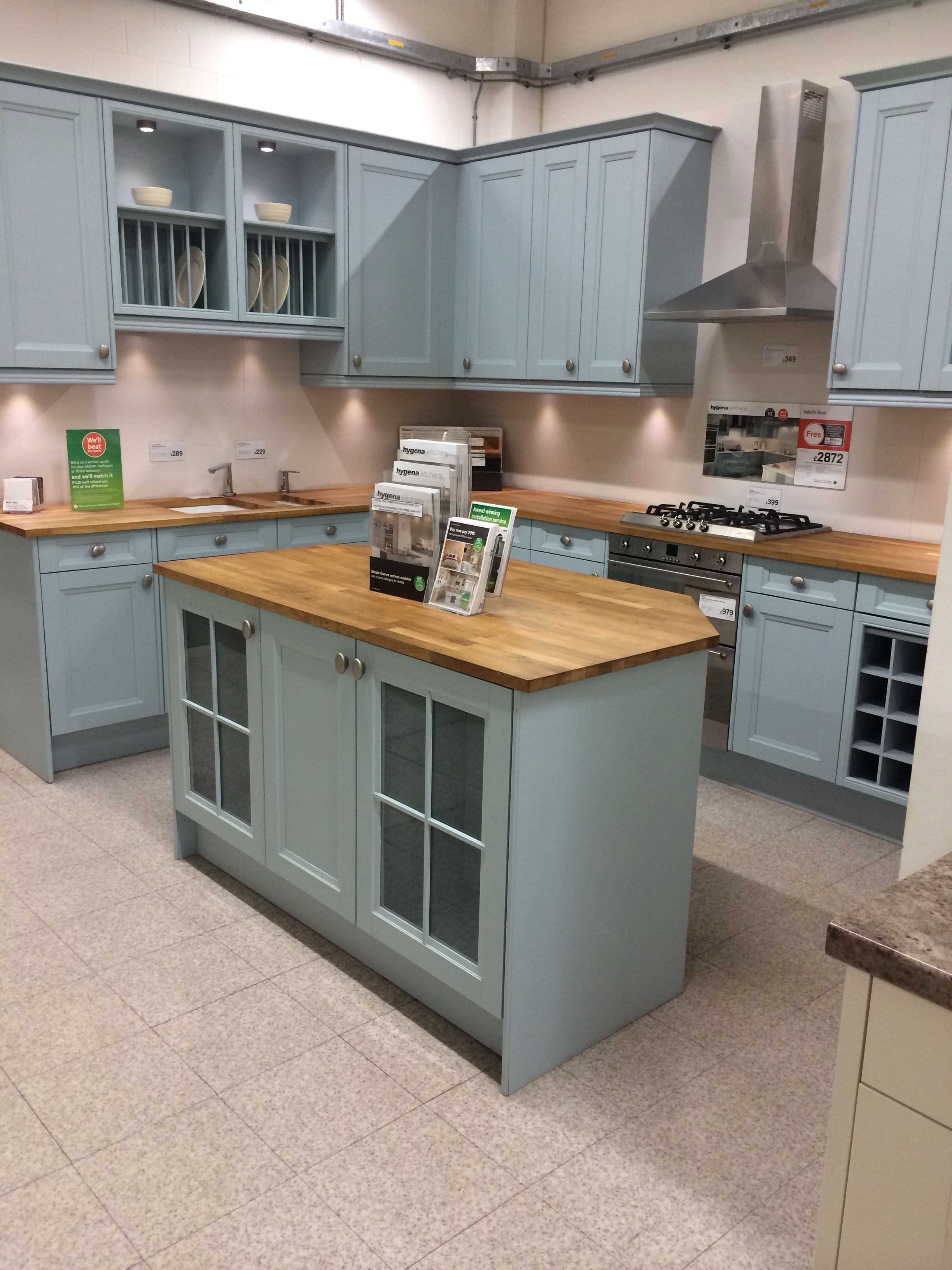 Hygena Valetti Blue Kitchen Perfect For Homes You Want To Add A Contemporary Twist To A Traditional K Kitchen Design Homebase Kitchens Kitchen Cupboards Paint