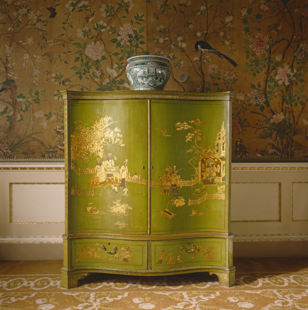 View of green and gold lacquer chinoiserie furniture in the State Bedchamber at Nostell Priory.