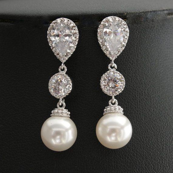 Wedding Pearl Jewelry Bridal Earrings Cubic Zirconia Teardrop Connectors Medium Round White Pearl Earrings Silver Posts Wedding Earrings on Etsy, $36.25
