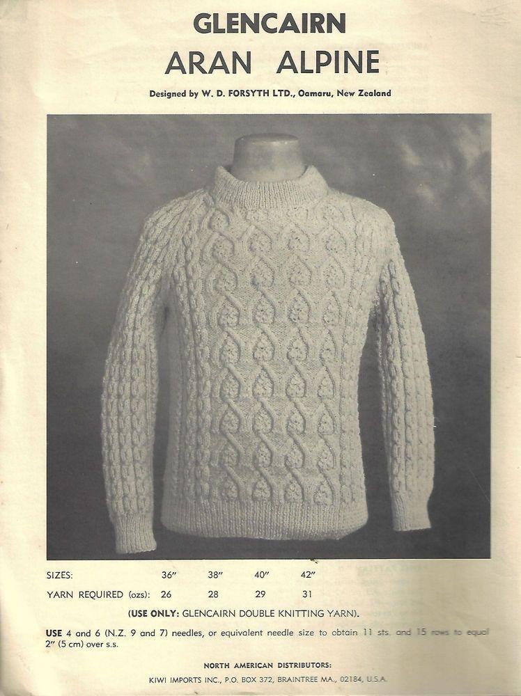 Mens Cable Aran Alpine Sweater Glencairn Knitting Pattern Dk Yarn