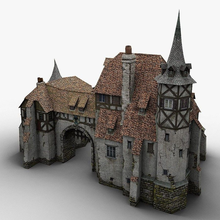 Old medieval warehouse 3d obj model building pinterest for Fachwerk 3d