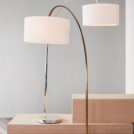 Floor Overarching Shade Polished Lamp NickelPalos Linen fb7gyY6