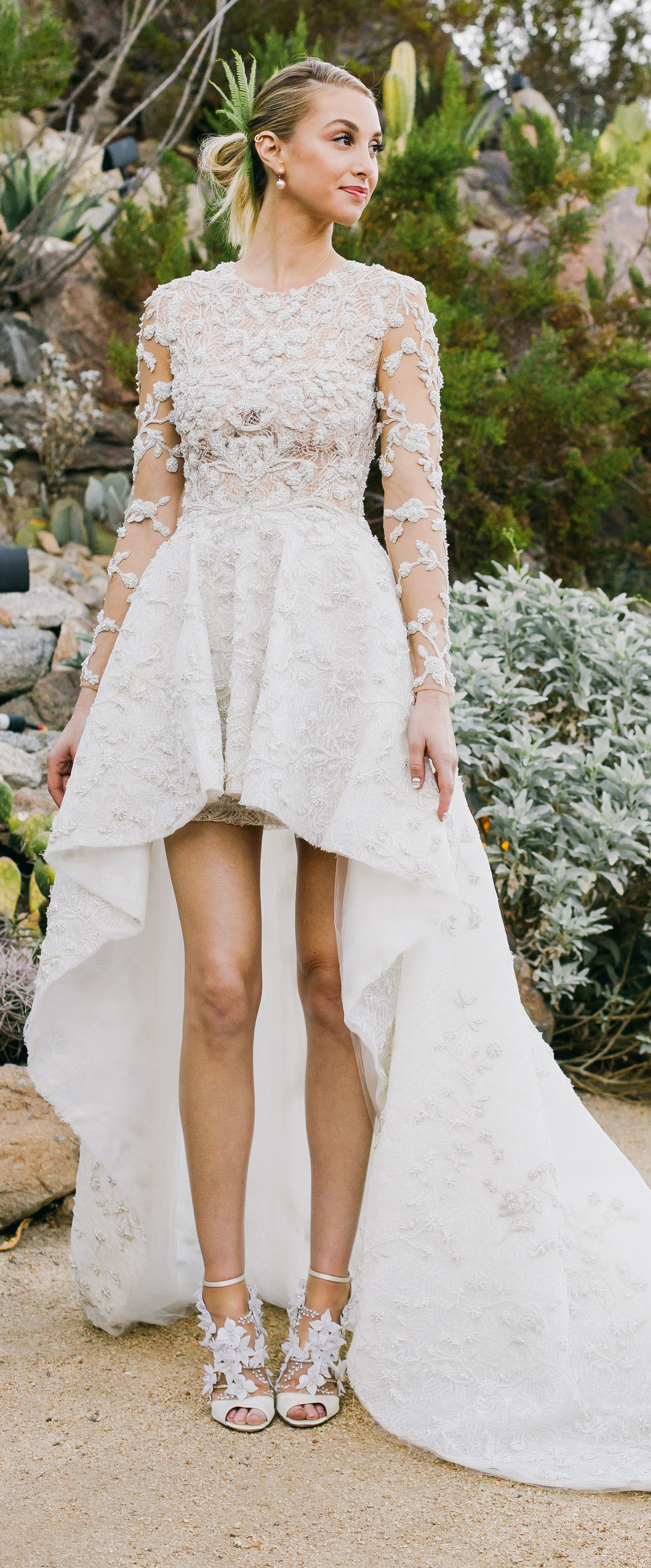Whitney Port S Wedding Gown Is Just What You D Expect Until You See The Bottom Wedding Dresses High Low Celebrity Wedding Dresses Celebrity Wedding Gowns