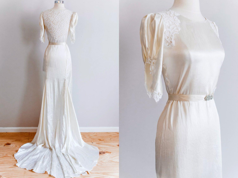 1930s Cream Silk Lace Bias Cut Wedding Dress