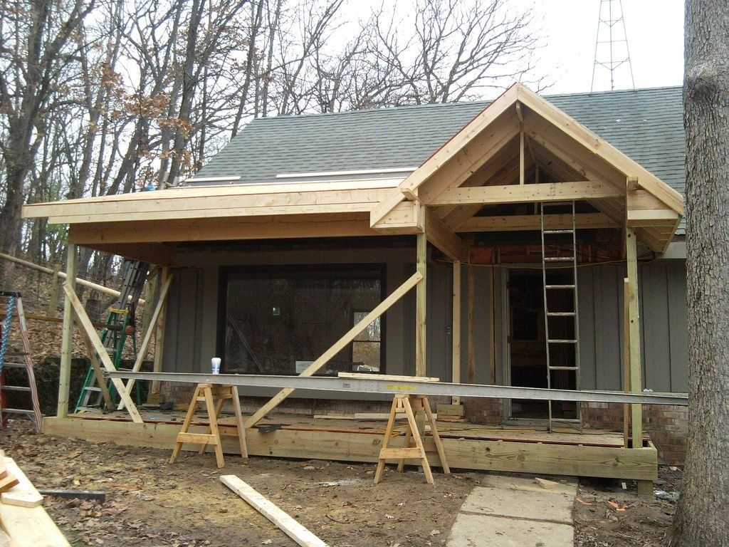 how to add a porch roof to existing house