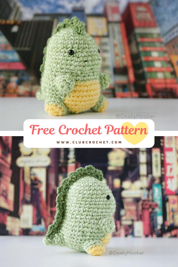 Chubzilla Free Amigurumi Pattern, Crochet Dinosaur, Godzilla Pattern