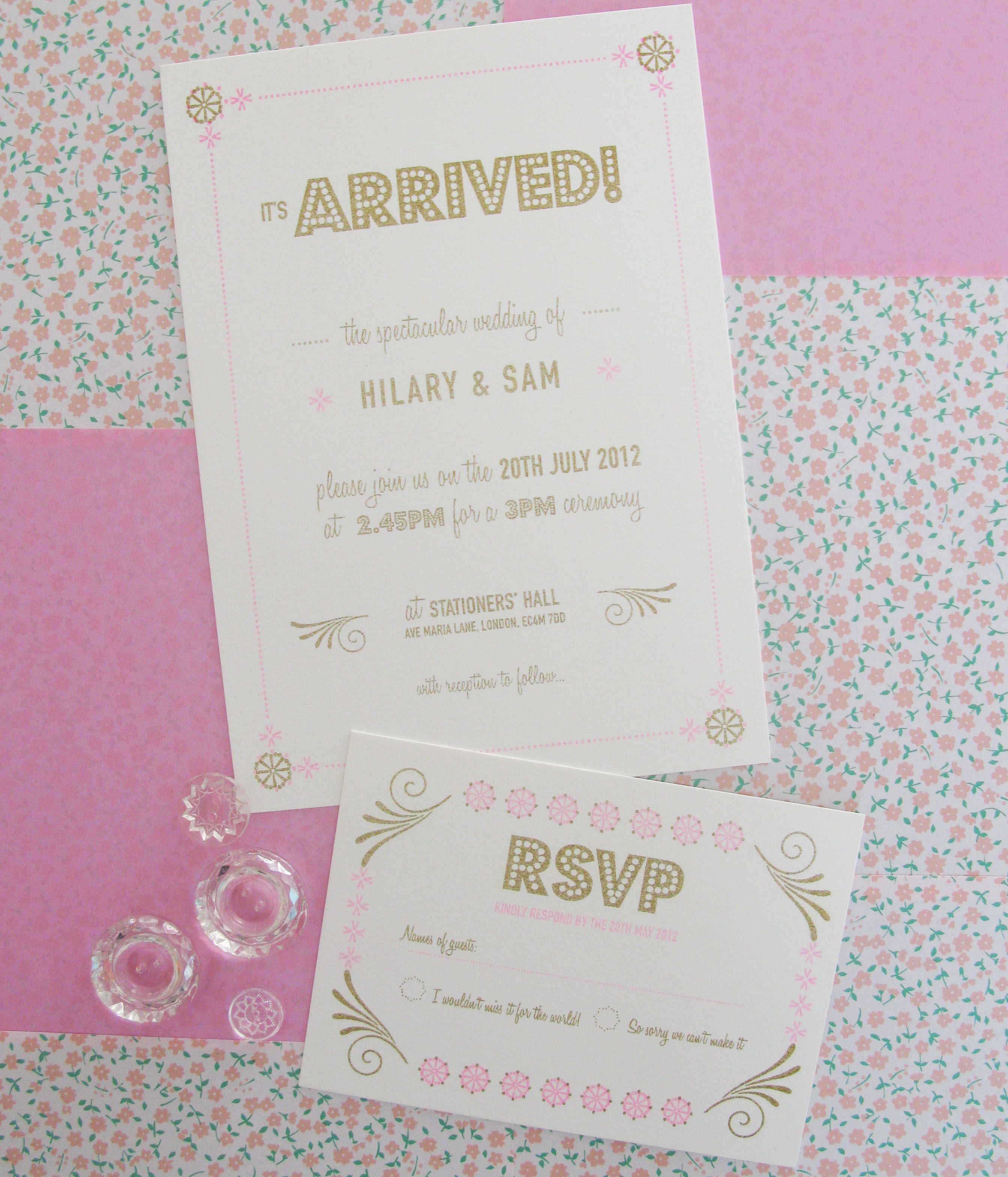 Risograph Printed Wedding Invitation And Rsvp Www.stacksvilledesign.com