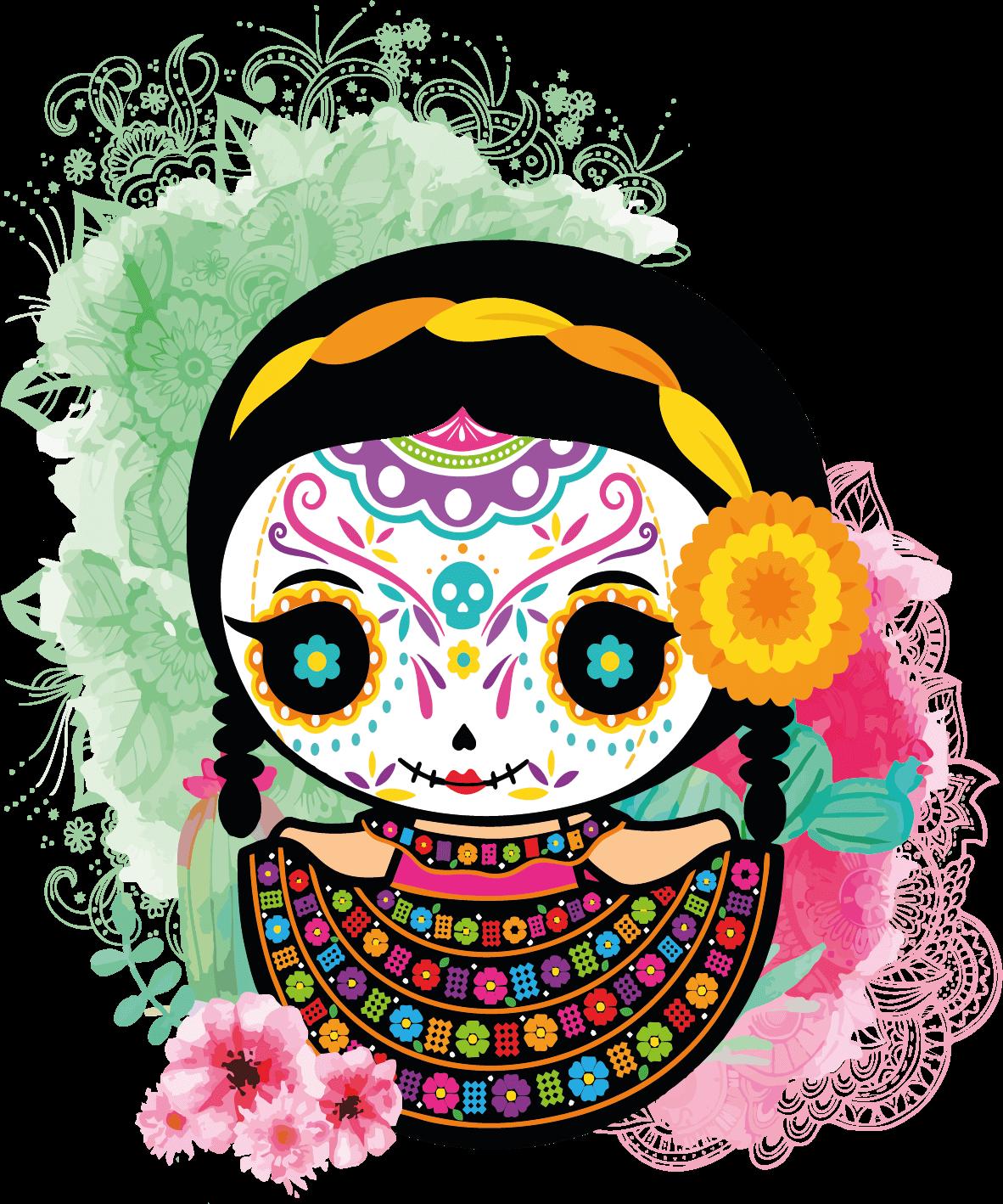 Munequitas Sugar Skull Dia De Muertos Halloween V2 Vector Dia De Muertos Fondos De Halloween Dia De Muertos Png