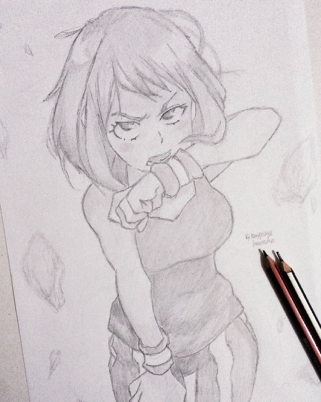 Another Pencil Sketch Of Uraraka From My Hero Academia Or Boku No Hero I M Getting A Little Bit Rusty At Penci Sketches Anime Sketch Anime Drawings Sketches
