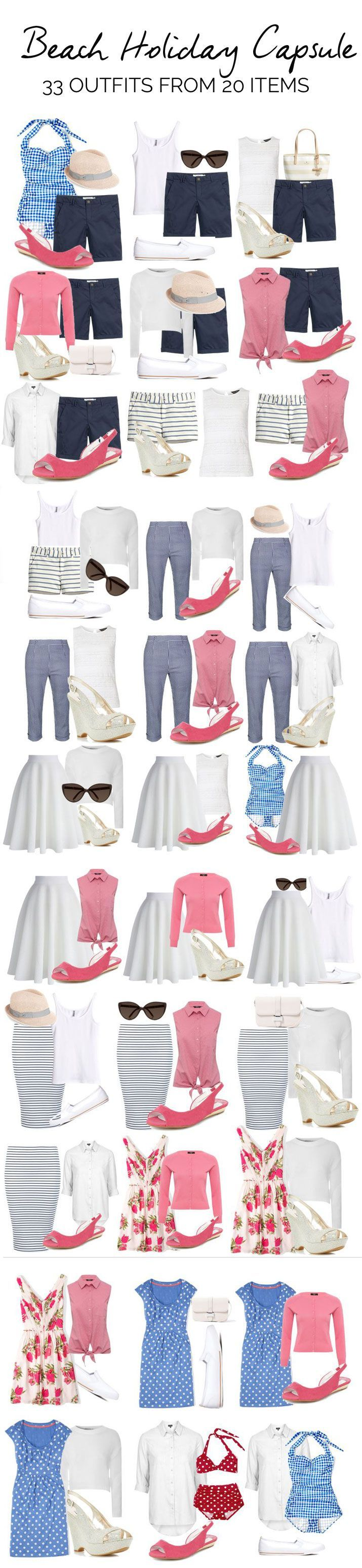 beach holiday capsule wardrobe: what to pack for a beach vacation // Fashion Style Ideas