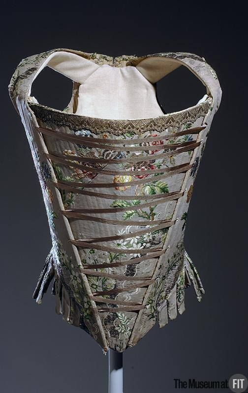 Stay (historic corset), silk brocade, c.1750. Collection of The Museum at FIT. #lingeriehistory