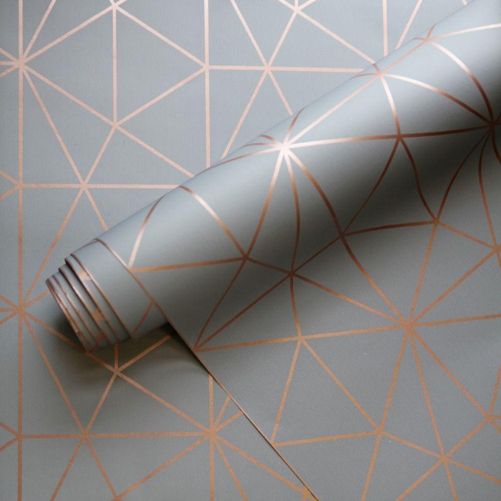 Best Metro Prism Geometric Triangle Wallpaper Charcoal Grey 640 x 480