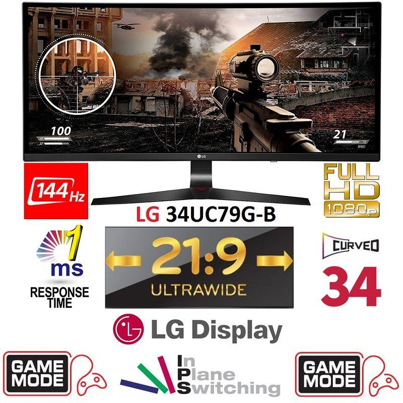 LG 34 Curved 34UC79G UltraWide 21:9 Gaming LED Monitor Full HD IPS