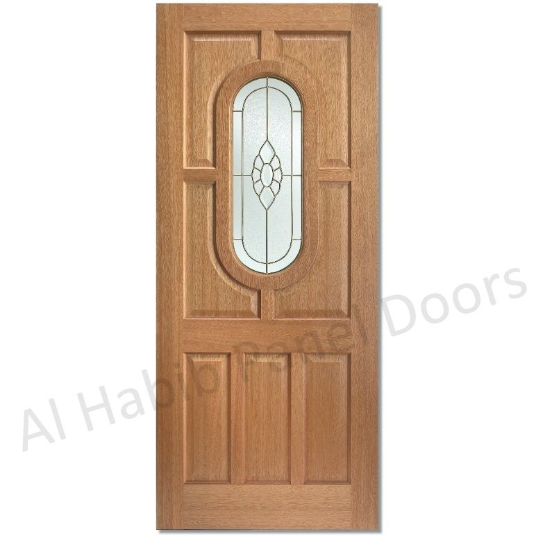 Wooden Panel Door With Glass Hpd533 - Glass Panel Doors - Al Habib Panel Doors