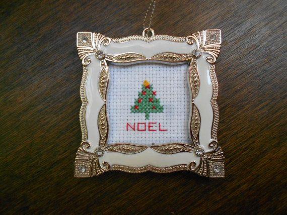 ornament noel christmas tree cross stitch silver framed ornament holiday tree