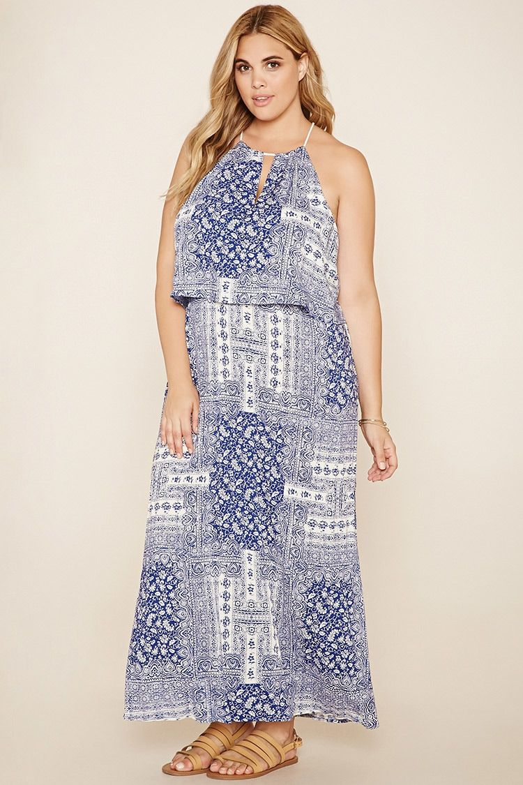 6085c37ede447 Forever 21+ - A woven ornate print maxi dress featuring adjustable  drawstring rope straps with tassel ends