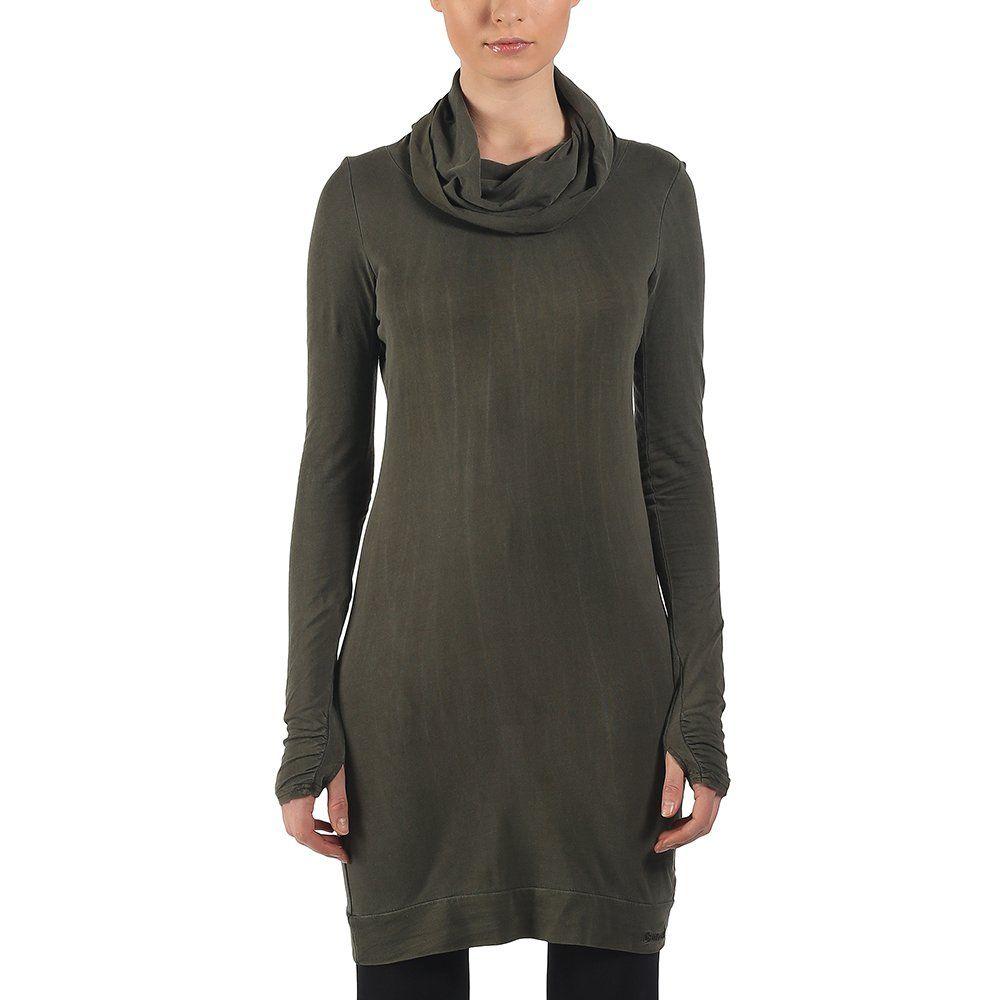 Bench Penaltyloop - Vestido rejilla de manga larga para mujer, color dark khaki, talla talla francesa: fr: 36 (taille fabricant: xs)