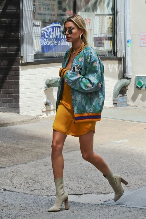 hailey baldwin wearing yellow dress, teal bomber and heels, street style,  celebrity style, ootd, outfit ideas