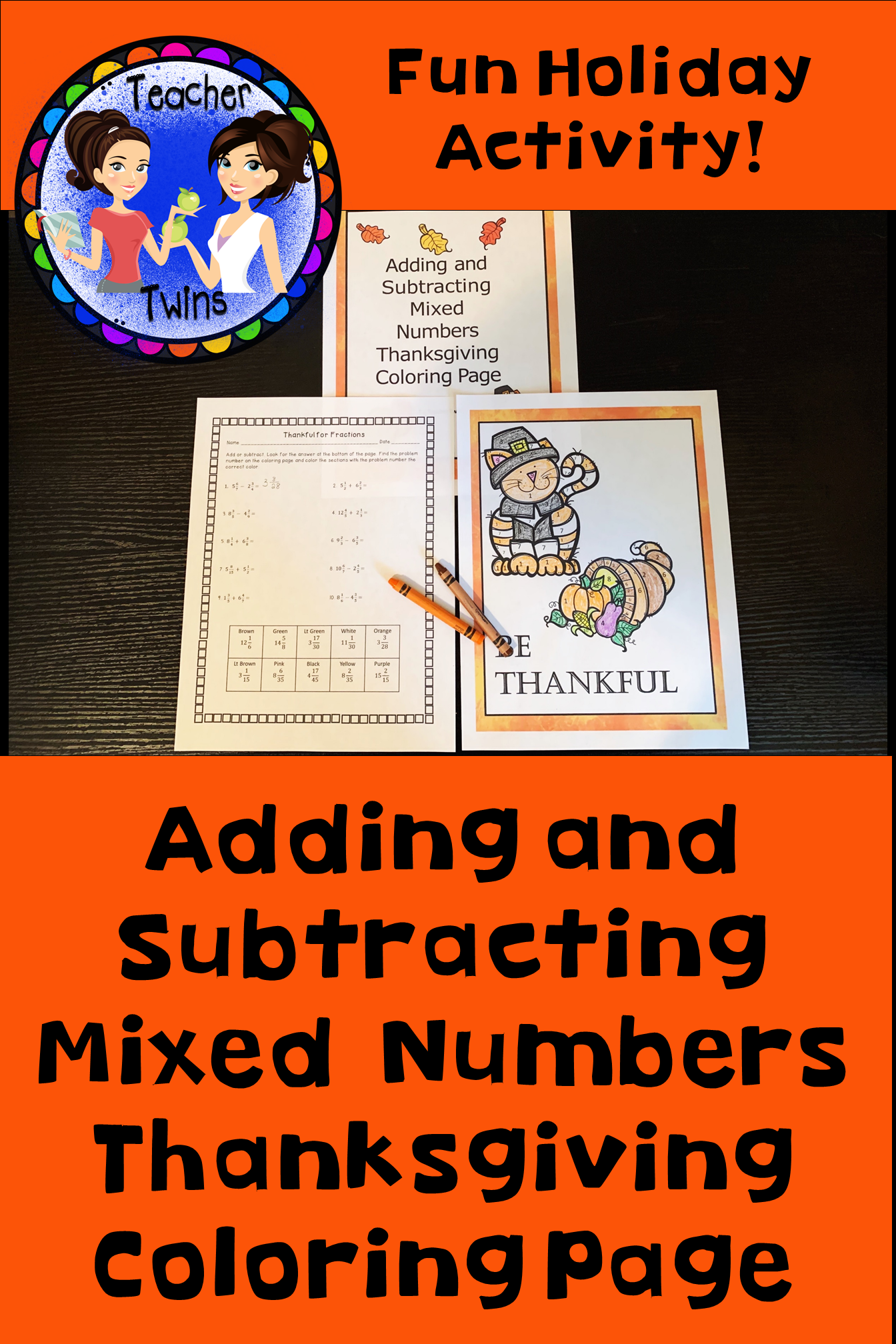 Adding And Subtracting Mixed Numbers Thanksgiving Coloring