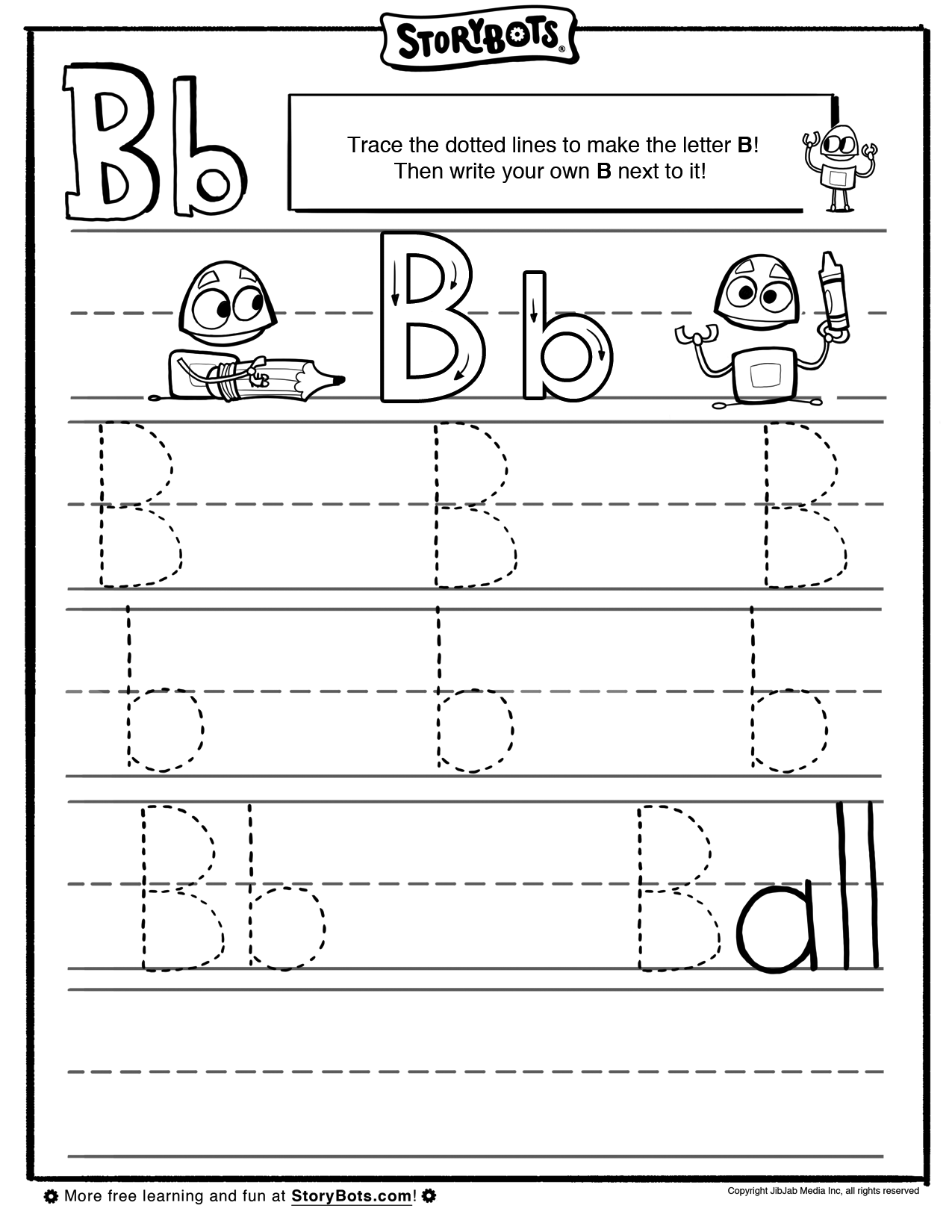 letter b tracing sheet abc activity sheets storybots preschool time pinterest abc. Black Bedroom Furniture Sets. Home Design Ideas