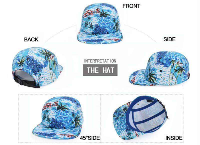 59df9611 Tropical Print Hawaii Beach Snapback Hats Coconut Palm Snapback Baseball Cap  Men Women