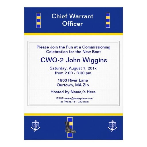 U.S. Navy CWO-2 Commissioning  Party Invitation