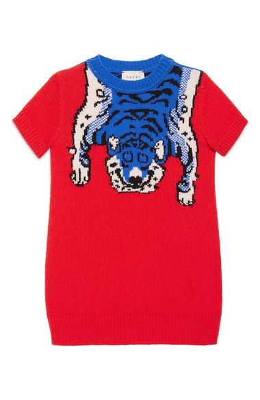 Gucci Intarsia Tiger Merino Wool Sweater Dress (Little Girls & Big Girls) available at #Nordstrom