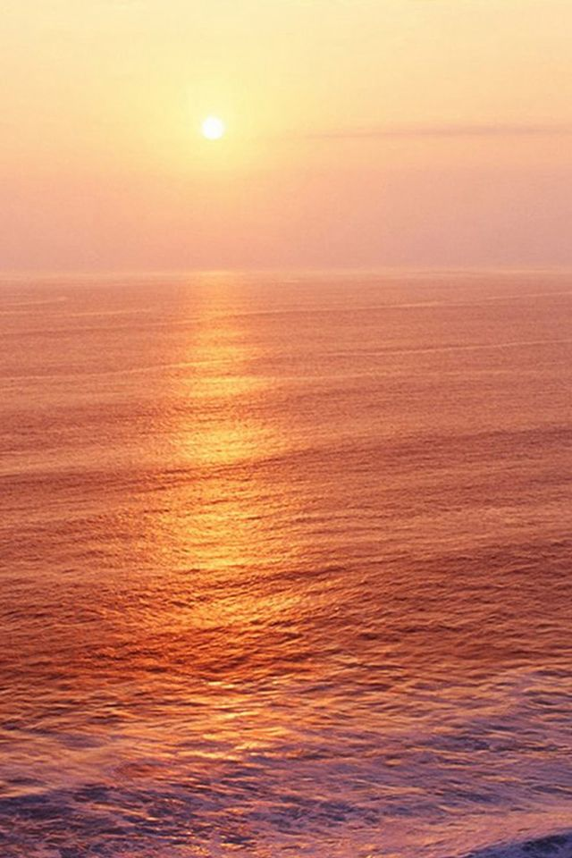 Nature Ocean Sunset Wave Ripple Pure Skyline IPhone 4s Wallpaper