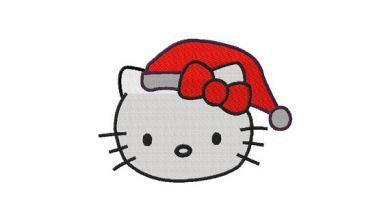 Hello kitty christmas santa hat machine embroidery embroidery