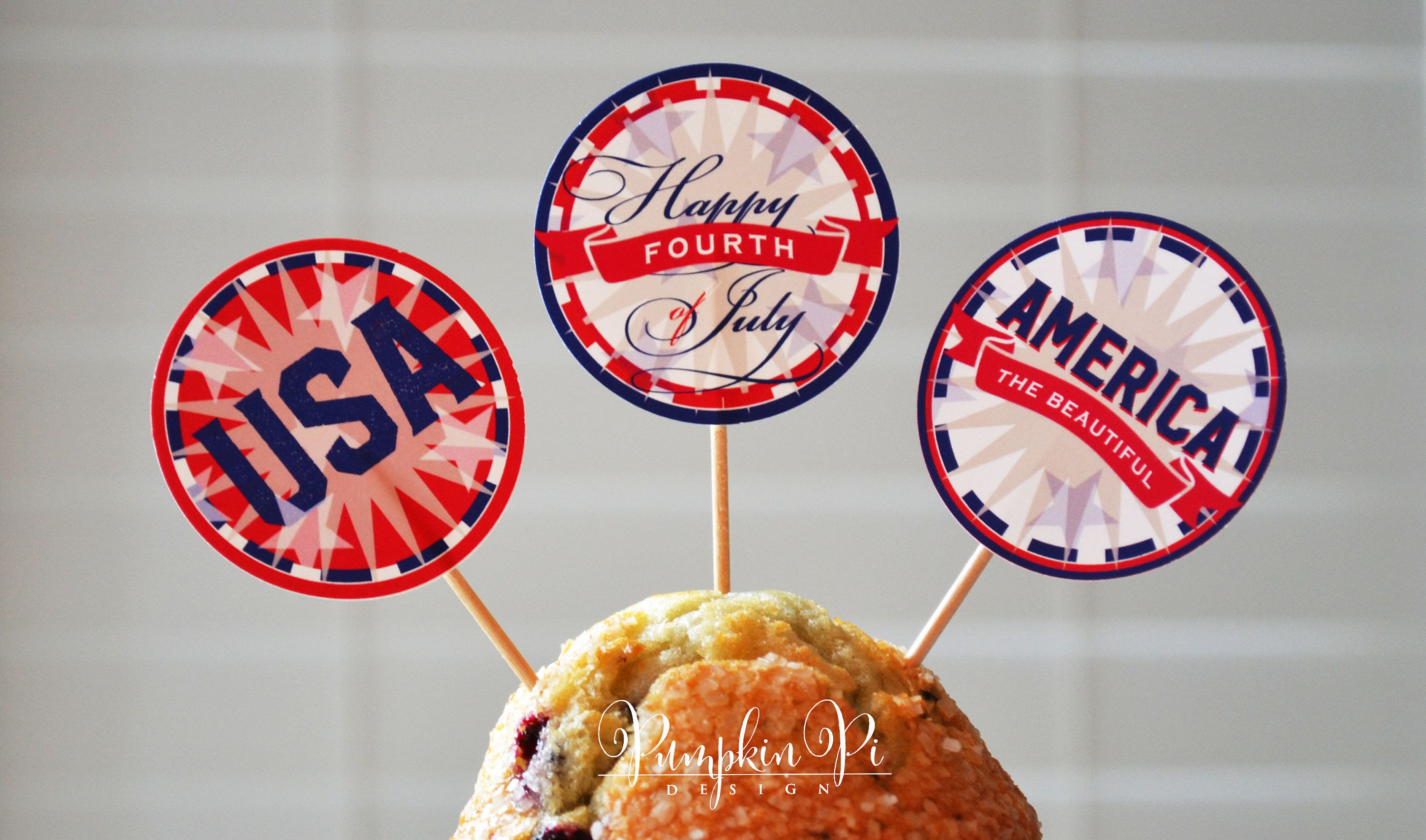 Printable, Instant Download, Fourth of July Cupcake Toppers, Stickers or  Gift Tags - · Gift Tags PrintableCupcake ToppersRound StickersOffice DepotFile  ...