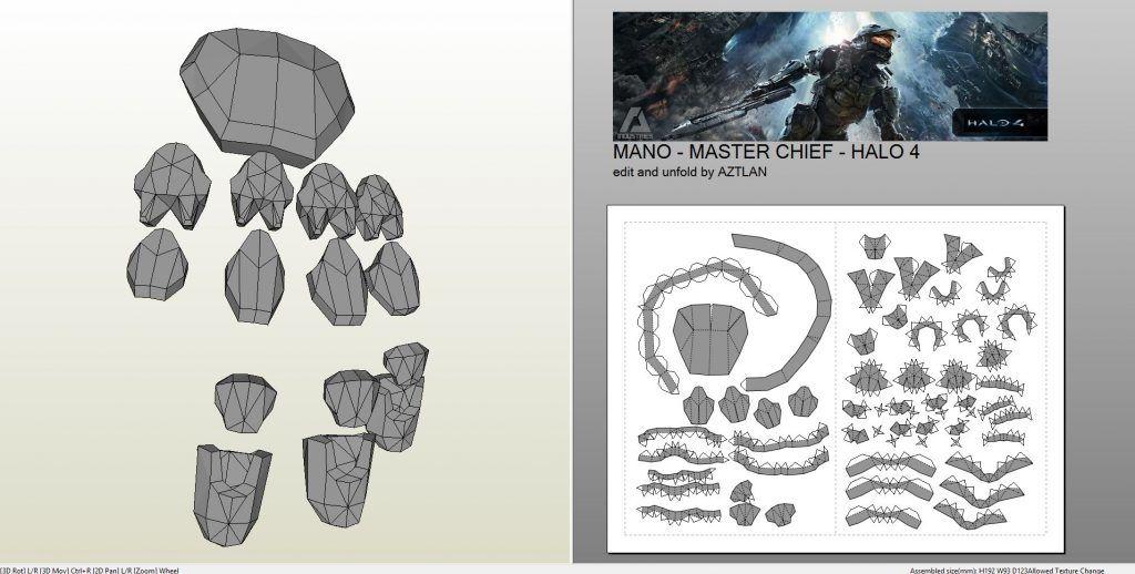 Papercraft Pdo File Template For Halo 4 Masterchief Full Armor In 2020 Halo 4 Halo Armor Halo