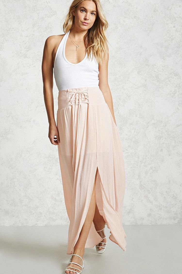 Forever contemporary a woven maxi skirt featuring a front