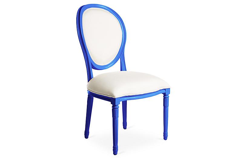 Melrose Outdoor Chair, White/Cobalt $374.00