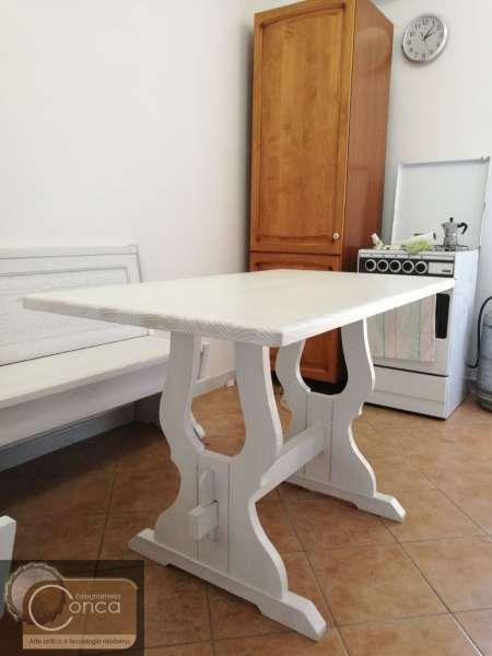 Tavolo per Cucina in Legno Decapato | Falegnameria artigianale Conca ...