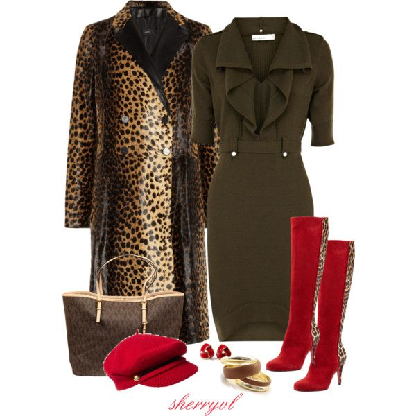 Leopard Print And Red Contst, created by sherryvl on Polyvore