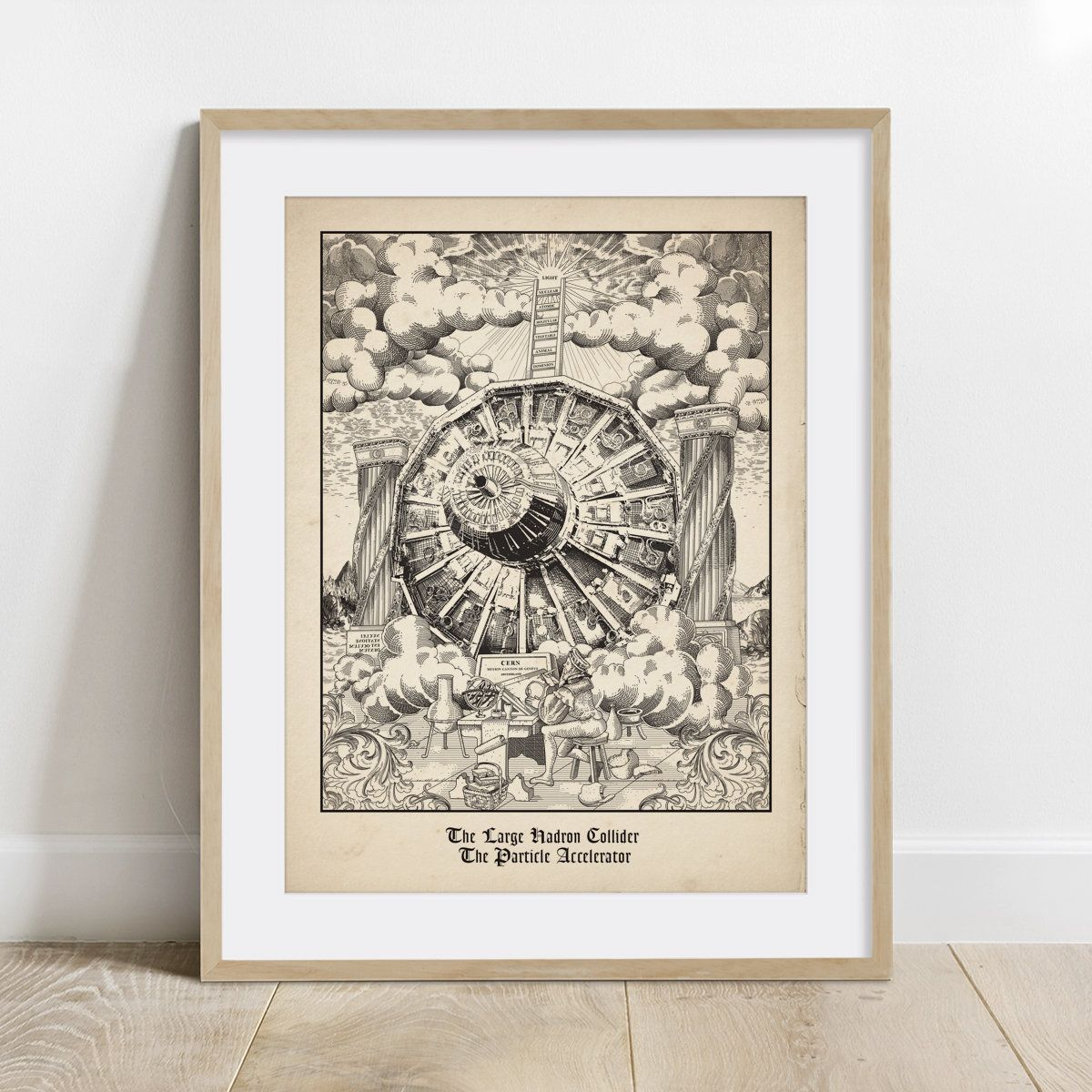 Cern Medieval Style Poster Print Wall Decor Science Art 5 X Etsy In 2020 Poster Prints Science Art Wall Prints