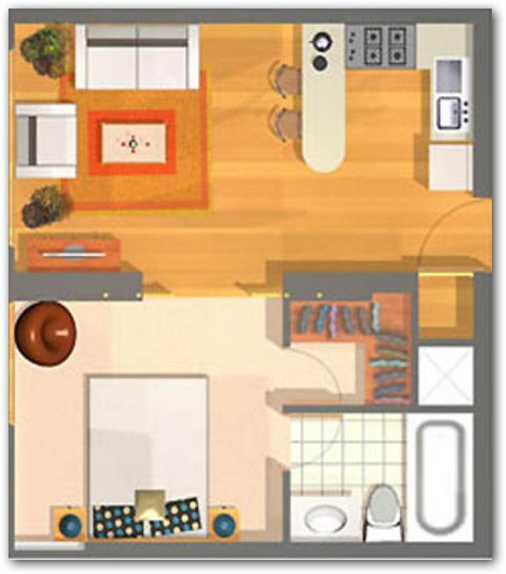 Plano de departamento peque o casas y apartamentos for Vivir en 40 metros cuadrados